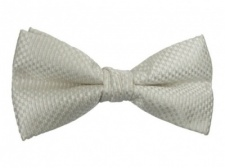 Polyester Pre-Tied Ivory White Bow Tie with Check Pattern